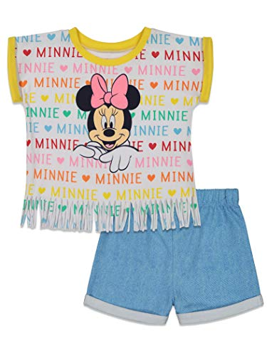 Disney Minnie Mouse Little Girls French Terry T-Shirt and Shorts Set 5