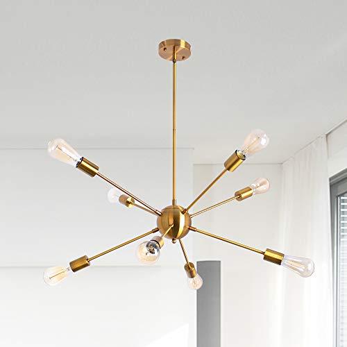 Sputnik Chandelier Gold, Vintage Semi Flush Mount Ceiling Lights, 8 Lights Industrial Hanging Light, Adjustable Modern Pendant Light Fixture for Dining Room Living Room Bedroom Kitchen Island Attic
