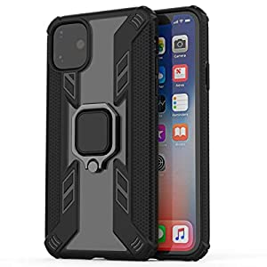 """Kit Me Out World Ring Series Case Designed for iPhone 11 Case 6.1"""", Scratch-Proof Transparent Hard (PC) Back and Black TPU Bumper with 360 Ring Kickstand, Shockproof Case Cover (Ultra Clear)"""