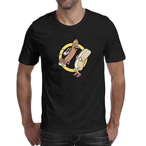 for Men Hot Dog Jumping Into a Bun Short Sleeve Tshirts