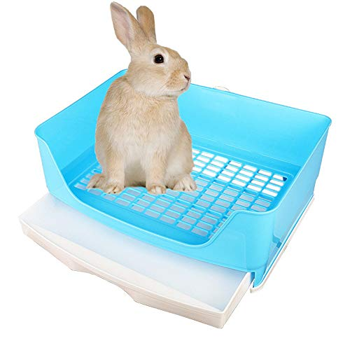 Amakunft Large Rabbit Litter Box with Drawer, Corner Toilet Box with Grate Potty Trainer, Bigger Pet Pan for Adult Guinea Pigs, Chinchilla, Ferret, Galesaur, Small Animals