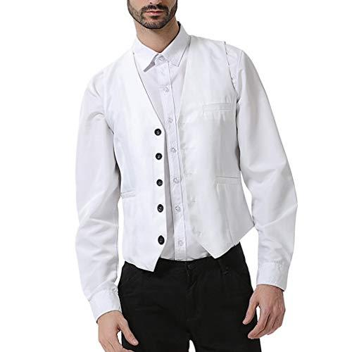 Luckycat heren vest vest vest slim fit gilet business pak vest voor heren vest V-hals zonder mouwen met 5 knoppen Gilet Business Casual klassiek basic mannen pak vest