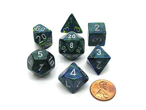 Chessex Dice: Polyhedral 7-Die Festive Dice Set - Green w/silver CHX-27045