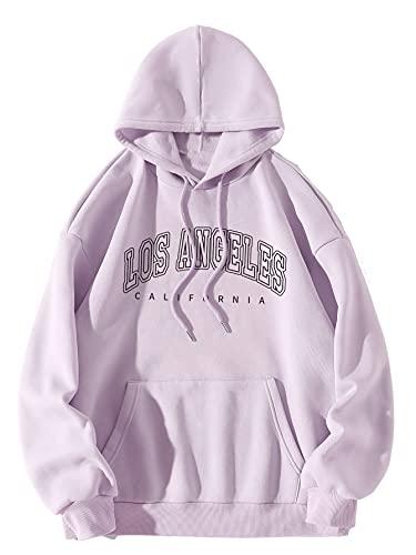 Floerns Women's Letter Graphic Printed Long Sleeve Pullover Drawstring Hoodie Sweatshirt Lilac Purple S