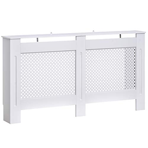 HOMCOM Wooden Radiator Cover Heating Cabinet Modern Home Furniture Grill Style Circle Design White Painted (Large)