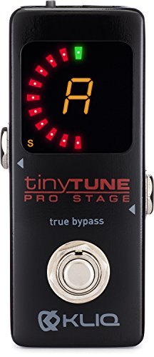 KLIQ TinyTune Pro Stage Tuner Pedal for Guitar and Bass with True Bypass Switching, Pitch Calibration and Flat Tuning (Power Supply Required)