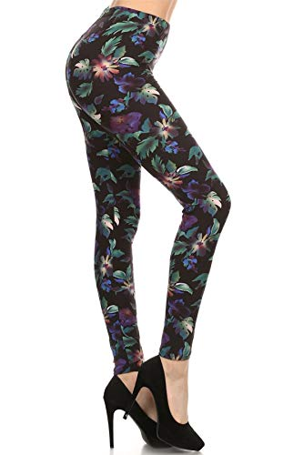 R509-PLUS Rainforest Flower Print Fashion Leggings