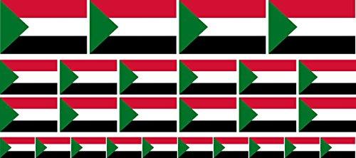 Mini Aufkleber Set - Pack glatt - 4x 51x31mm+ 12x 33x20mm + 10x 20x12mm- Sticker - Sudan - Flagge - Banner - Standarte fürs Auto, Büro, zu Hause & die Schule - Set of 26