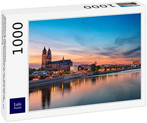 Lais Puzzle Magdeburg, Deutschland. Panorama-Stadtlandschaftsbild von Magdeburg, Deutschland, mit Spiegelung der Stadt in der Elbe bei Sonnenuntergang 1000 Teile
