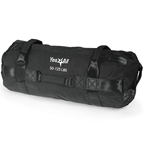 Yes4All Sandbag Weights/Weighted Bags - Sandbags for Fitness, Conditioning, Crossfit with Adjustable Weights (Black - L)
