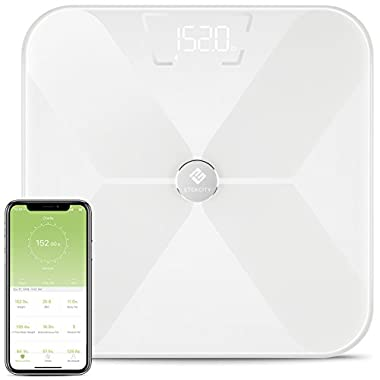 Etekcity Smart BMI Scale, Bluetooth Body Fat Scale Wireless Digital Bathroom Weight Scale with 13 Essential Measurements, FDA Approved Body Composition Analyzer with App, White