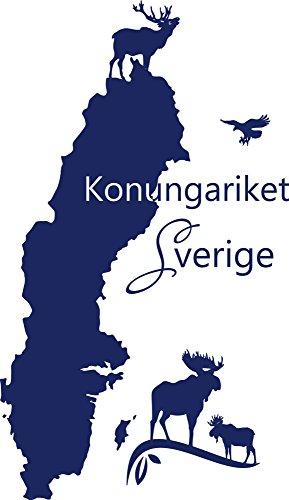 Graz Design 630210_57_049 väggtatuering vägg dekoration för vardagsrum kontor dekoration Sticker länder Sverige älg ren Stockholm Europa 99 x 57 cm drottningsblå