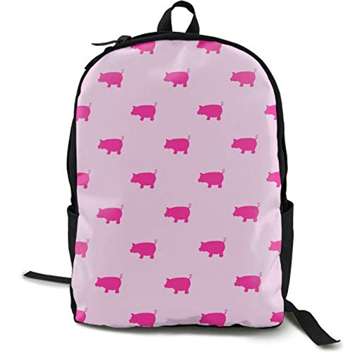 Women's Diaper Backpack College School Bag Lightweight Pink Pigs Pattern Shoulder Bag Anti-Theft Laptop Bag High School Bags with Side Mesh Pocket