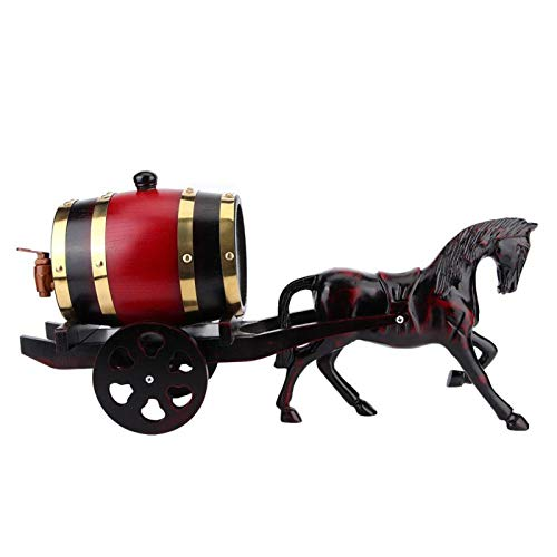 Barril de vino, 1,5 l exclusivo carro tirado por caballos con forma de roble, barril de vino kit de contenedor de barril, adorno para barril de almacenamiento de whisky barriles de almacenamie