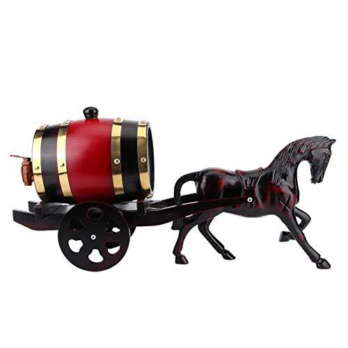 Barril de vino, 1,5 l exclusivo carro tirado por caballos con forma de roble, barril de vino kit de contenedor de barril, adorno para barril de almacenamiento de whisky barriles de almacenamiento