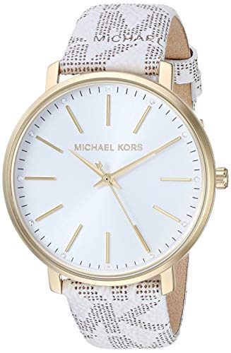 Michael Kors Women's Pyper Stainless Steel Quartz Watch with Plastic Strap, White, 18 (Model: MK2858)