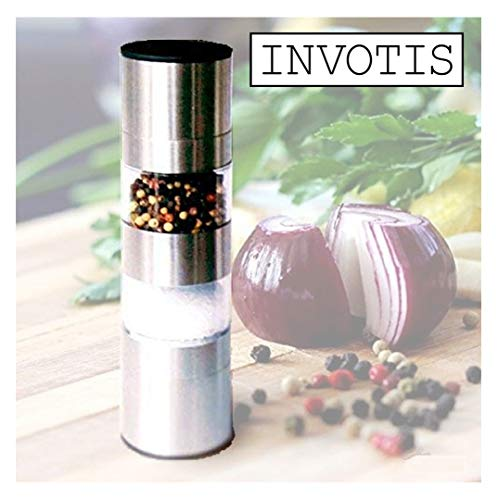 Invotis Manuelle Salz- und Pfeffermühle aus Edelstahl, 2-in-1, mit verstellbarem Mahlwerk, Mahlgrad und Dichtheit