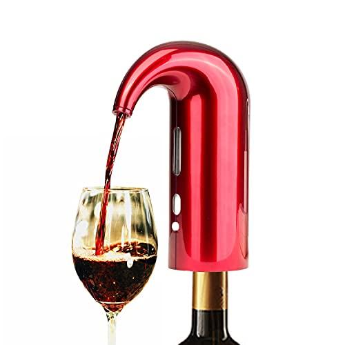 Decantador de vino y aireador,bomba vacio vinos electrico dispensador inteligente de un solo botón buenos para regalar de fiestas familiares de barbacoa(RED)