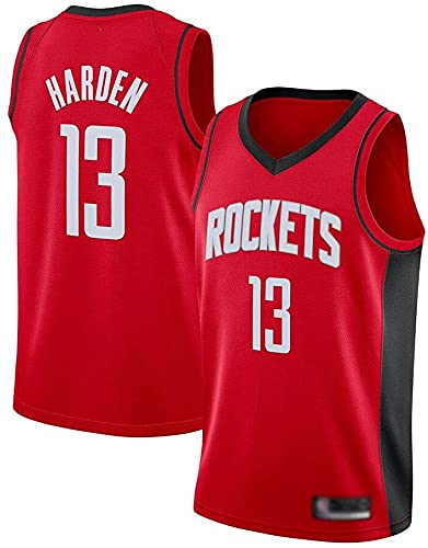 jiaju Ropa Uniformes De Baloncesto para Hombres Houston Rockets # 13 James Harden NBA Verano Jerseys De Baloncesto Sin Mangas Tops Sueltos Camisetas Chalecos Deportivos Red XL (180~185cm) WO Niza