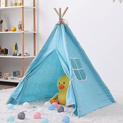 Fnho Tienda de campaña Infantil India,Juego de Castillo Princesa Interior Tiendas,Tienda de campaña India para niños, casa de muñecas Interior-Blue_1.8M