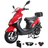 X-PRO 2020 Version Maui 50cc Moped Scooter Gas Moped Scooter Motorcycle 50cc Adult Scooter Aluminum Wheels with USB Charger Fully Assembled in Crate (Red)