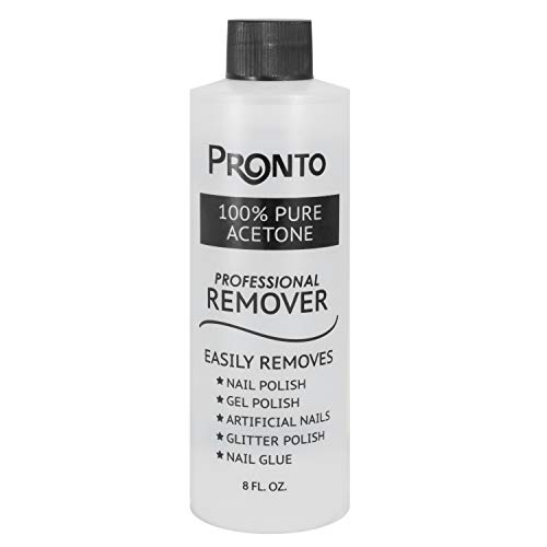 Pronto 100% Pure Acetone - Quick, Professional Nail Polish Remover - For Natural, Gel, Acrylic, Sculptured Nails (8 Ounces)