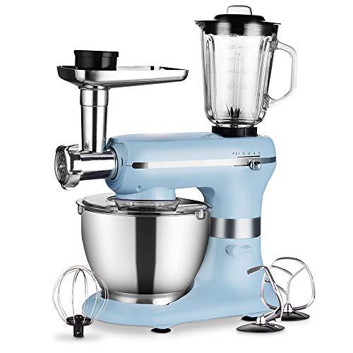 Küchenmaschine - 1200W 3 in 1 Elektrischer maschine - mit 5,0 Liter Schüssel in Lebensmittelqualität, Rühraufsätzen, Fleischwolf und Mixer - 5 Geschwindigkeiten mit Impulsfunktion - Hellblau