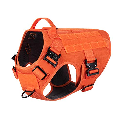 """ICEFANG Tactical Dog Harness with 4X Metal Buckle,Dog MOLLE Vest with Handle,No Pulling Front Clip,Hook and Loop Panel for Dog Custom Patch (L (Neck:18""""-24"""" ; Chest:28""""-35""""), Safety Orange)"""