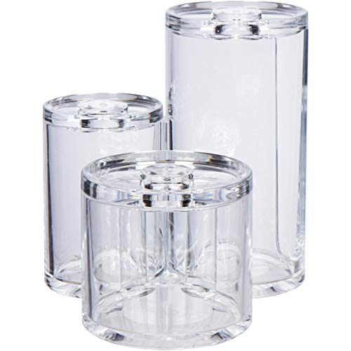 GROOVI BEAUTY Acrylic Triple Round Make up Container (3 Connected Towers) - Compact Size, Great Storage Container for Cosmetics, Bathroom and Vanity Supplies - qtips, Cotton Balls - 5.5