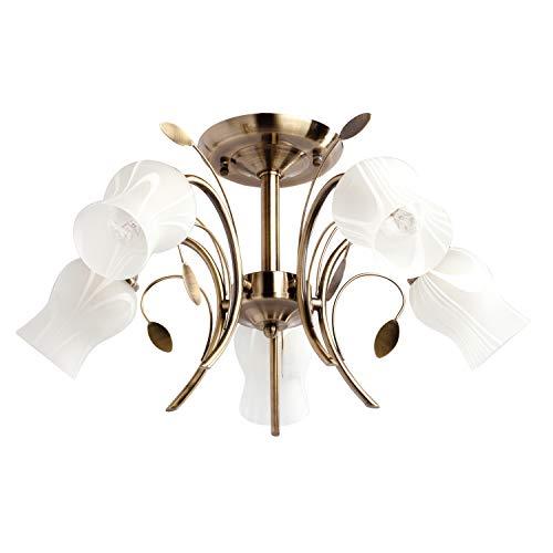 MW-Light 256018205 Deckenleuchte Florentiner Antike Bronze Metall Weiße Glasschirme 5 Flammig E14 300W