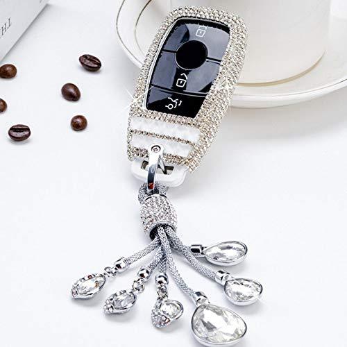 PLUIEX Protector de Llave de Coche Diamond Crystal Car Key Cover Case para Mercedes Benz Clase E E300 W202 W210 W213 2017 2018 Protector Shell Llavero Accesorios, E, Llavero Blanco
