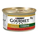 Purina Gourmet Gold Umido Gatto Patè con Verdure, con Manzo e Carote, 24 Lattine da 85 g Ciascuna, Confezione da 24 x 85 g