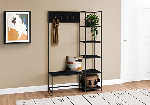 Monarch Specialties Free Standing Hanger Hanging Bench with Shelves - 4 Hooks - Metal Frame for Entryway or Hallway Modern Hall Tree, 71' H, Black
