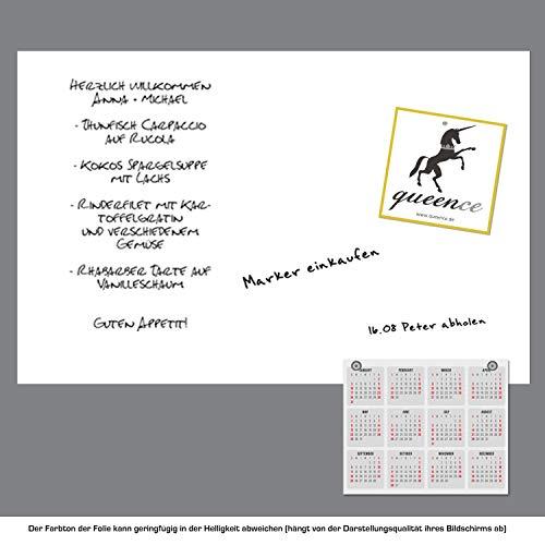 Queence Selbstklebende Magnetische Whiteboard Folie   Weißwandtafel   Whiteboard   Schreibtafel   Folie   Wandfolie   Multifunktionstafelfolie   Farbe: Weiß, Größe:100x200 cm - 2
