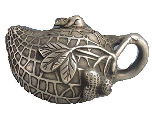 Fashion158 Interessante antieke Tibetaanse zilveren pinda-vorm theepot & muisdeksel met Qianlong Mark