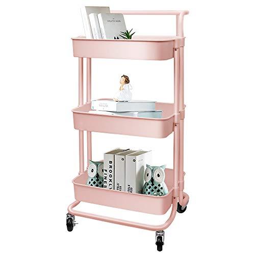 OUNUO Küche Organizer Küchenwagen Rollwagen Servierwagen küchenrollwagen Allzweckwagen 3-Etagen Badwagen (Pink)