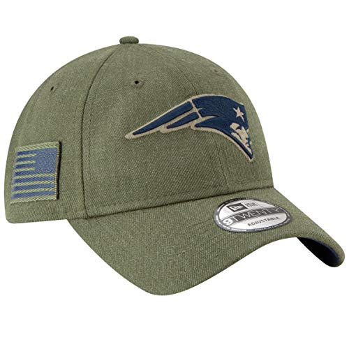 New Era Mens NFL 2018 Salute to Service 9Twenty Strapback Hat (New England Patriots)