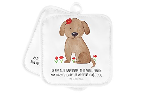 Mr. & Mrs. Panda Ofenhandschuh, Handschuhe, 2er Set Topflappen Hund Hundedame mit Spruch - Farbe Weiß