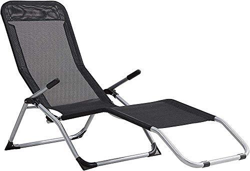 Sillas, tumbonas, sillas de jardín, jardín de la cama, sillón reclinable con barras de apoyo,Black