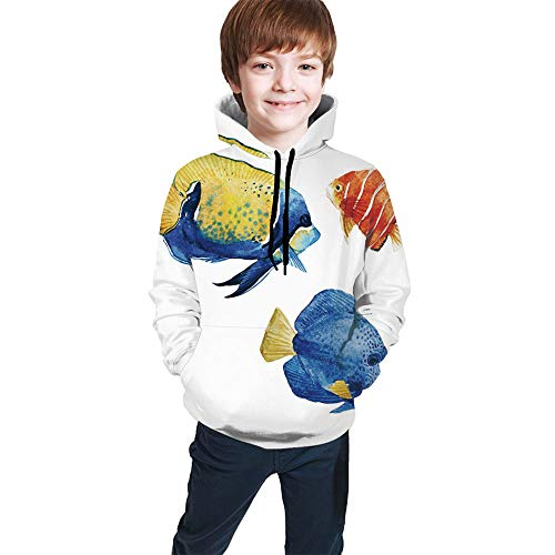 Teen Hoodies Fish, Tropical Aquarium Life Discus Fish And Athletic Hooded Sweatshirts Model48429