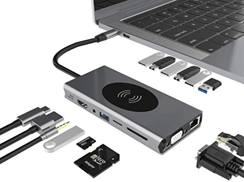 LANGYA 15 in 1 USB-C HUB With USB 3.0 Multiple Docking Station SD/TF/RJ45/VGA/Audio/HDMI/PD Port,Gigabit Ethernet,USB Splitter Expansion Dock Slim Data Hub
