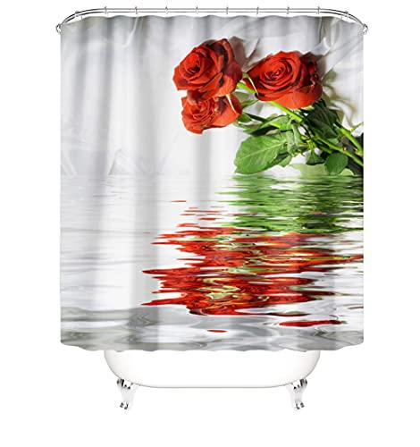 Cortinas de Ducha 3D Tela de poliéster Resistente al Agua Cortina Lavable a la abrasión Resistente al Calor para baño con 12 Ganchos de plástico en Forma de C 48 x 80 Inch(120 x 200 Cm) Rosa A4604