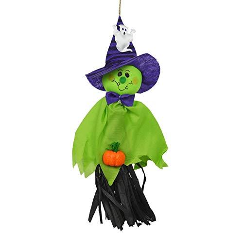KANGIRU Muñeca de bruja colgante para casa, jardín, patio, bar de Halloween, aterrador, decoración de casa encantada (verde)
