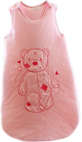 Baby slaapzak rits babyslaapzak zonder mouwen borduurwerk beer (61cm, roze)