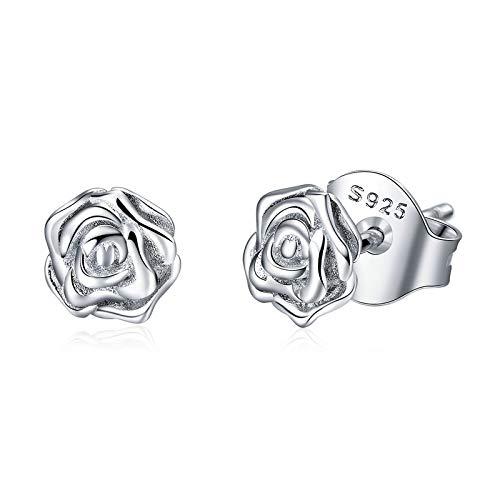 Orecchini da ragazza in argento Sterling romantico a forma di rosa per donna