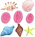 3D Starfish Seashells Conch Shell Silicone Mold Cake Decorating Mold Beach Theme Molds Reusable Kitchen Fondant Sugar Craft Baking Tools Chocolate Candy Molds