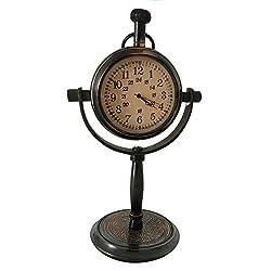 Antique Mantle Table Clock Brass Vintage Home Office Desk & Shelf Decor Handcrafted Retro Base