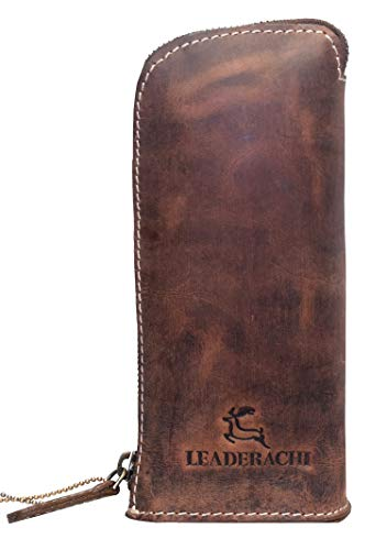 LEADERACHI Vintage Hunter Leather Multipurpose Utility Pouch and Stand