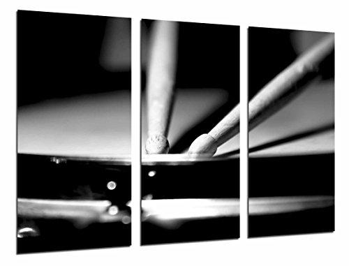 Cuadros Camara Poster Fotográfico Baquetas de Bateria, Blanco y Negro Tamaño total: 97 x 62 cm XXL, Multicolor