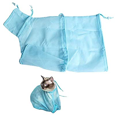 Carykon Adjustable Multifunctional Polyester Cat Washing Shower Mesh Bags Pet Nail Trimming Bags (Blue)